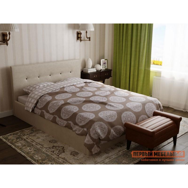 Двуспальная кровать  Колумбия ПМ Кремовый / Коричневый велюр, 1800 Х 2000 мм (фото 9)