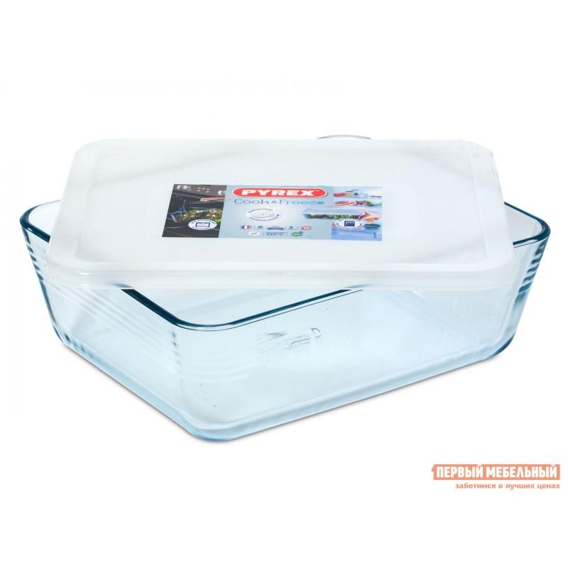 Форма для выпечки  Контейнер с крышкой Cook Freez 27x22x9см 4л прямоугольный Стекло (фото 2)