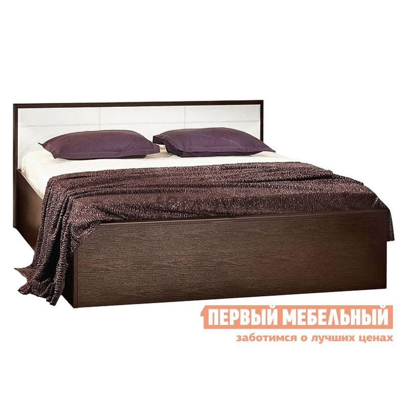 Двуспальная кровать  Кровать Амели Венге / Винил кожа, 1800 Х 2000 мм, С деревянным основанием