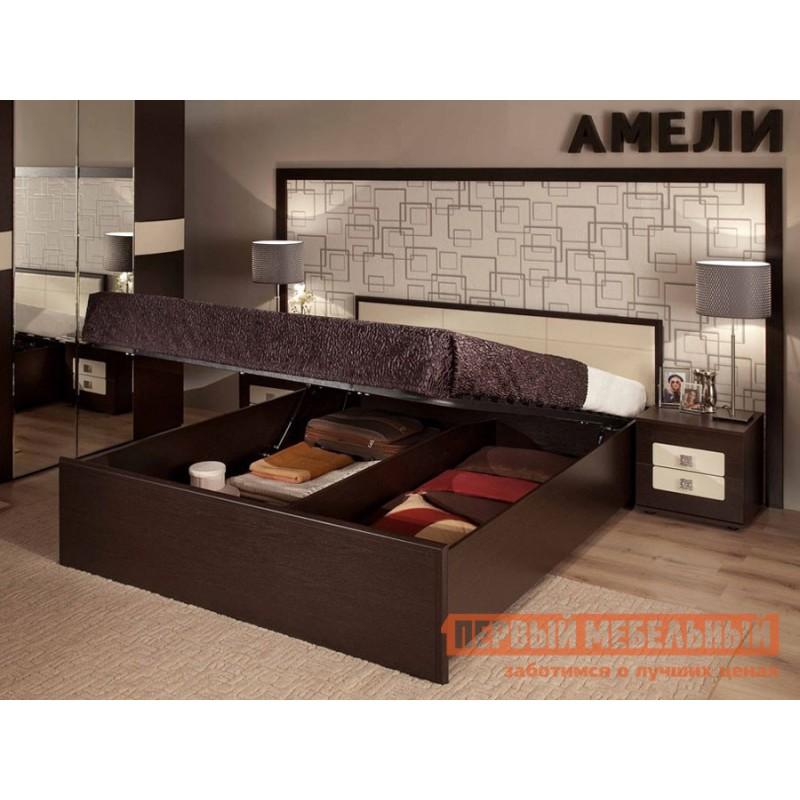 Двуспальная кровать  Кровать Амели Венге / Винил кожа, 1800 Х 2000 мм, С деревянным основанием (фото 3)