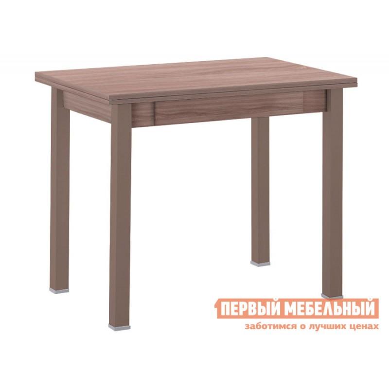 Кухонный стол  Стол обеденный раскладной прямая ножка с ящиком Капучино (массив) / Шимо темный (ЛДСП)
