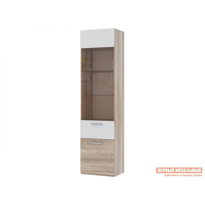 Шкаф-витрина  Фиера со стеклом Дуб каньон светлый / Белый глянец