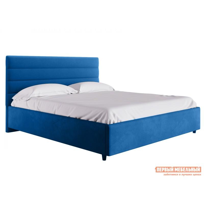 Двуспальная кровать  Кровать с подъемным механизмом Франческа ПМ Синий, велюр, 1600 Х 2000 мм