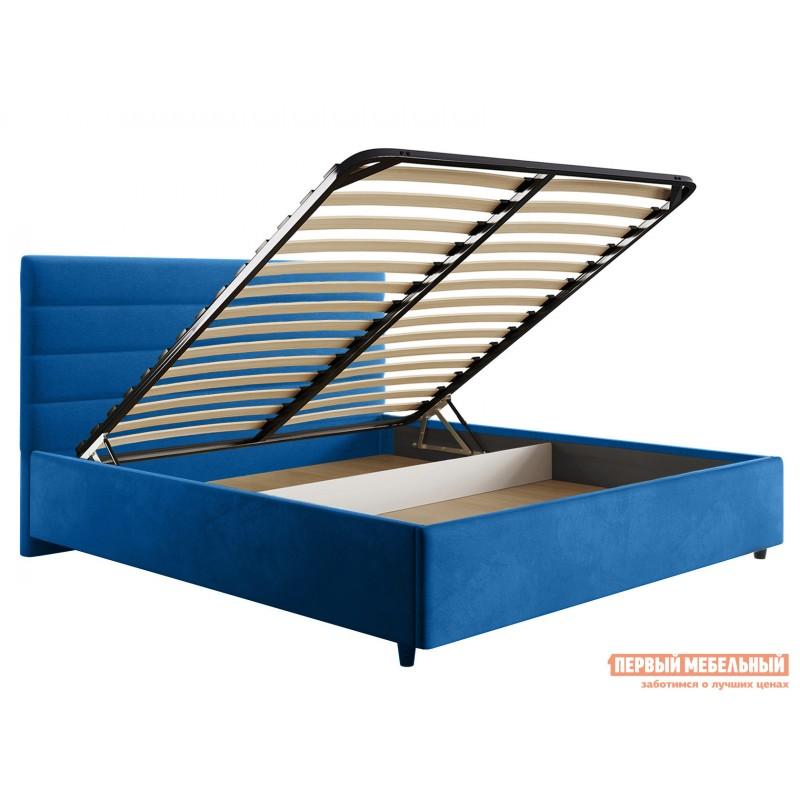 Двуспальная кровать  Кровать с подъемным механизмом Франческа ПМ Синий, велюр, 1600 Х 2000 мм (фото 2)