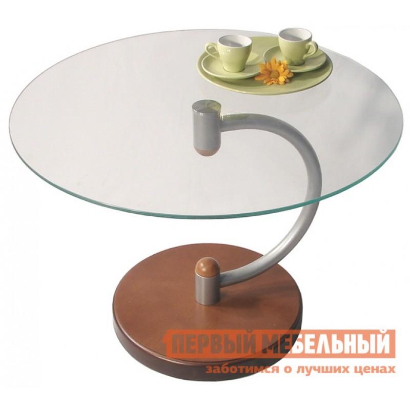 Журнальный столик  Дуэт-13Н Средне-коричневый / Прозрачное стекло
