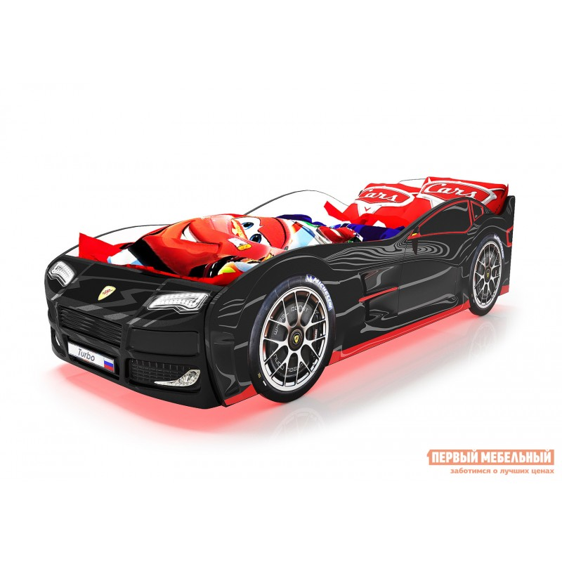 Кровать-машина  Турбо с ПМ Черный (Турбо), Без подсветки