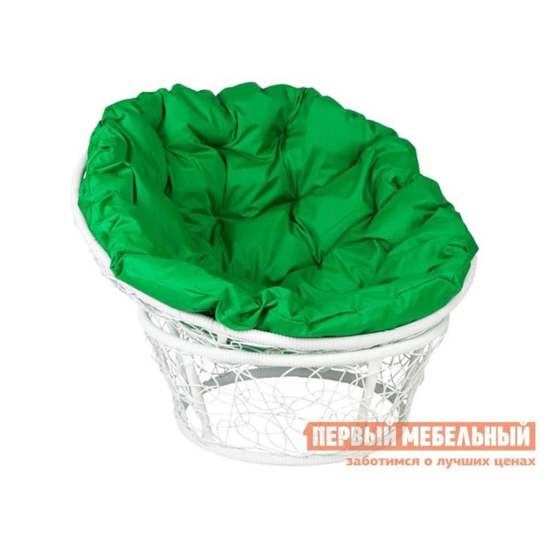 Садовое кресло  Кресло 23/01 met Белый, ротанг / Зеленый, ткань