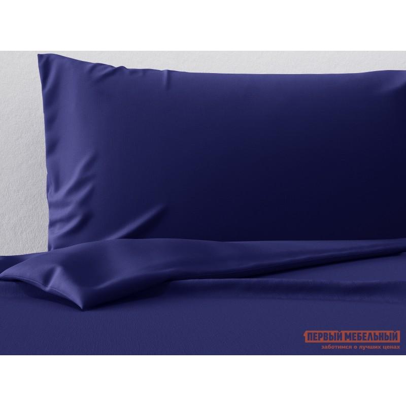 Комплект постельного белья  КПБ сатин однотонный (синий ОСНОВА СНОВ) Синий, сатин, Двуспальный