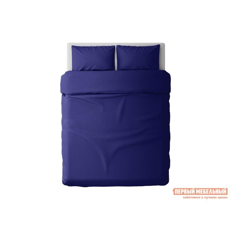 Комплект постельного белья  КПБ сатин однотонный (синий ОСНОВА СНОВ) Синий, сатин, Двуспальный (фото 2)