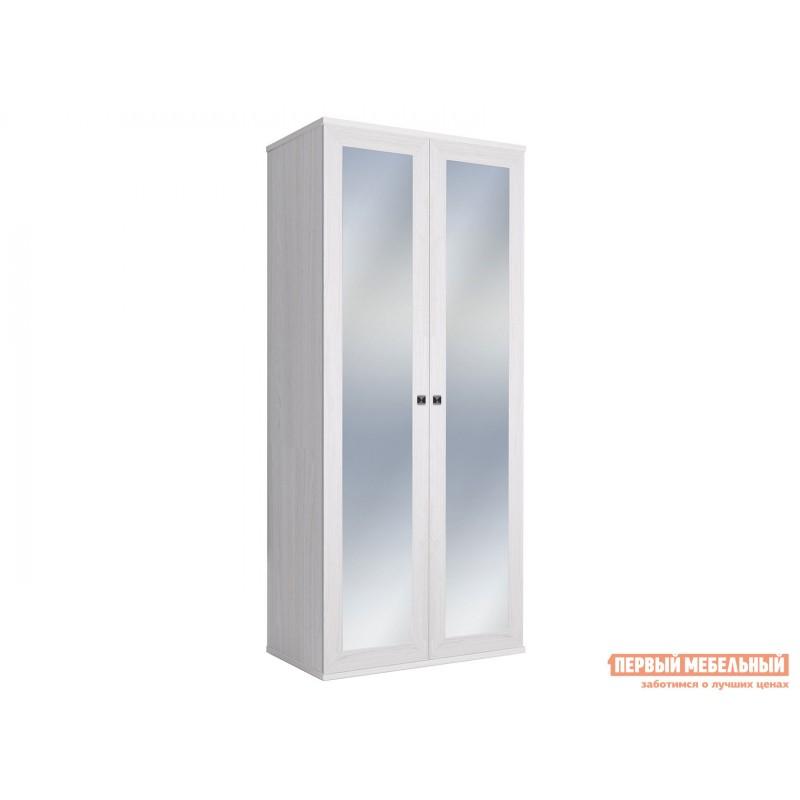 Распашной шкаф  Шкаф 2-х дверный Парма НЕО Ясень анкор светлый / Экокожа белая, С двумя зеркалами