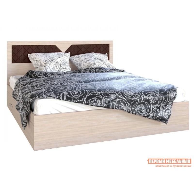 Двуспальная кровать  Кровать Вероника Ясень шимо светлый / Лиственница темная, 1600 Х 2000 мм