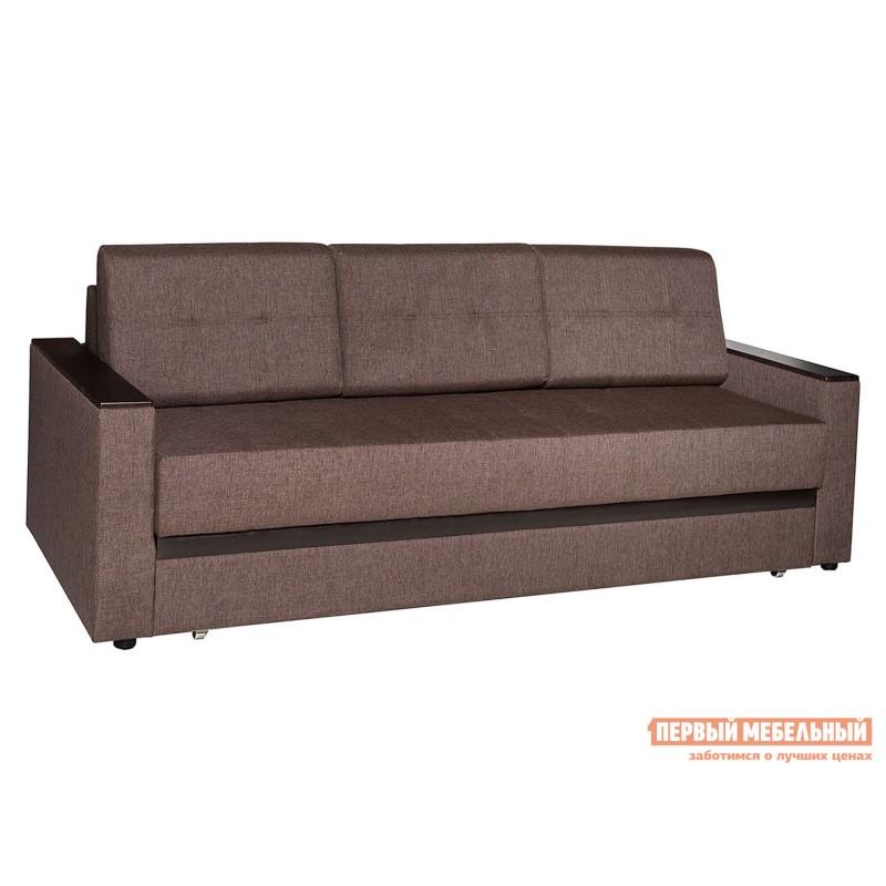 Прямой диван  Атланта Кофейный, рогожка / Темно-коричневый, иск. кожа