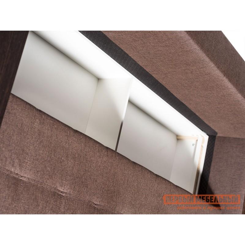 Прямой диван  Атланта Кофейный, рогожка / Темно-коричневый, иск. кожа (фото 2)