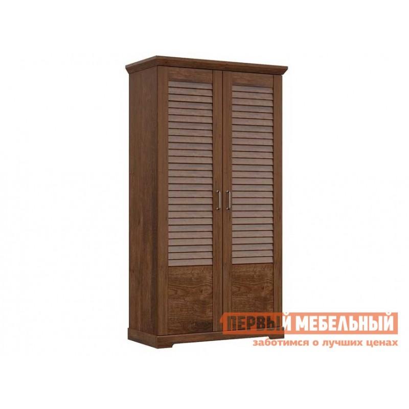 Распашной шкаф  Шкаф для одежды 2-х дверный Кантри Орех рибек темный