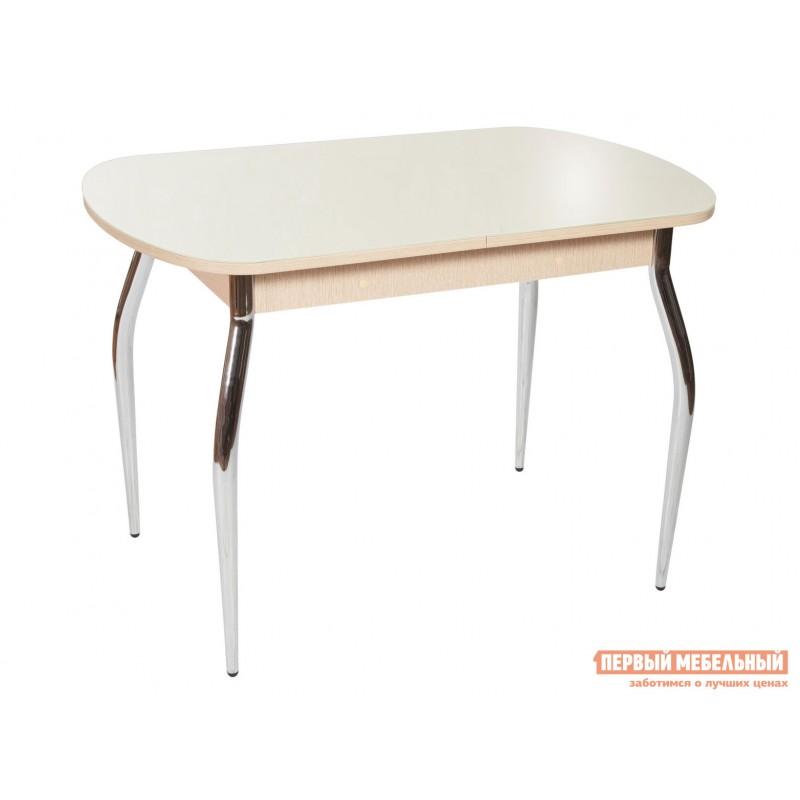 Кухонный стол  Стол Ривьера СВ (110/142*70) Стекло Молочное / ЛДСП Дуб выбеленный