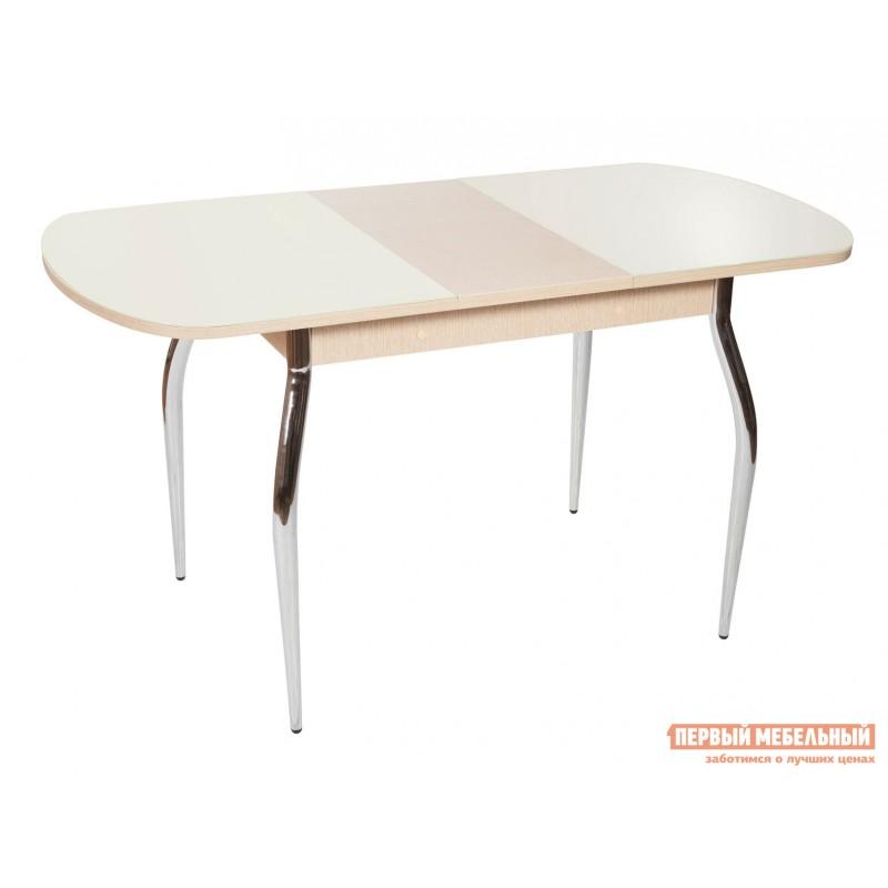 Кухонный стол  Стол Ривьера СВ (110/142*70) Стекло Молочное / ЛДСП Дуб выбеленный (фото 2)