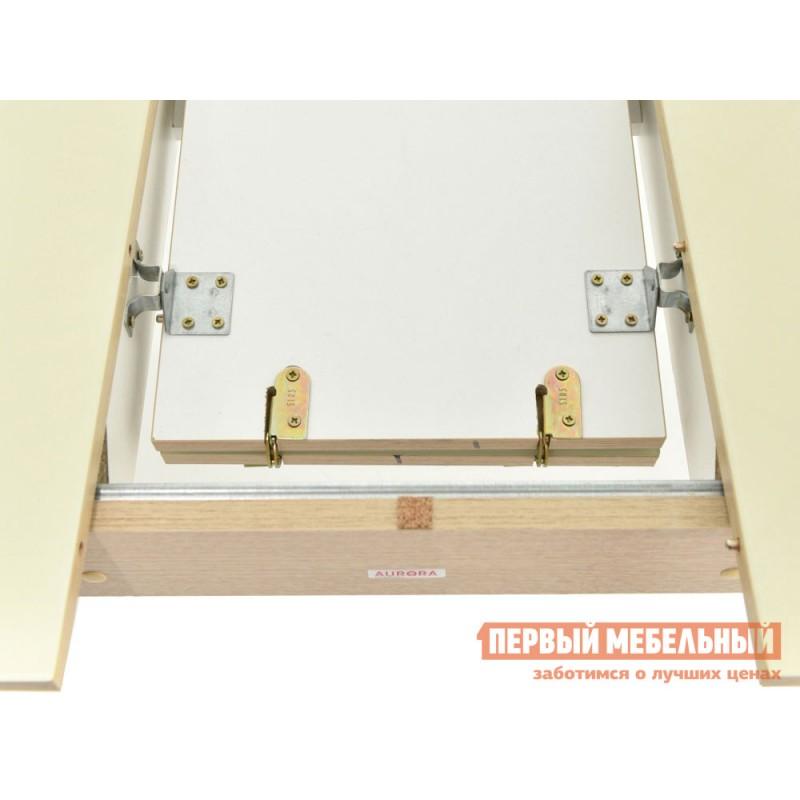 Кухонный стол  Стол Ривьера СВ (110/142*70) Стекло Молочное / ЛДСП Дуб выбеленный (фото 3)