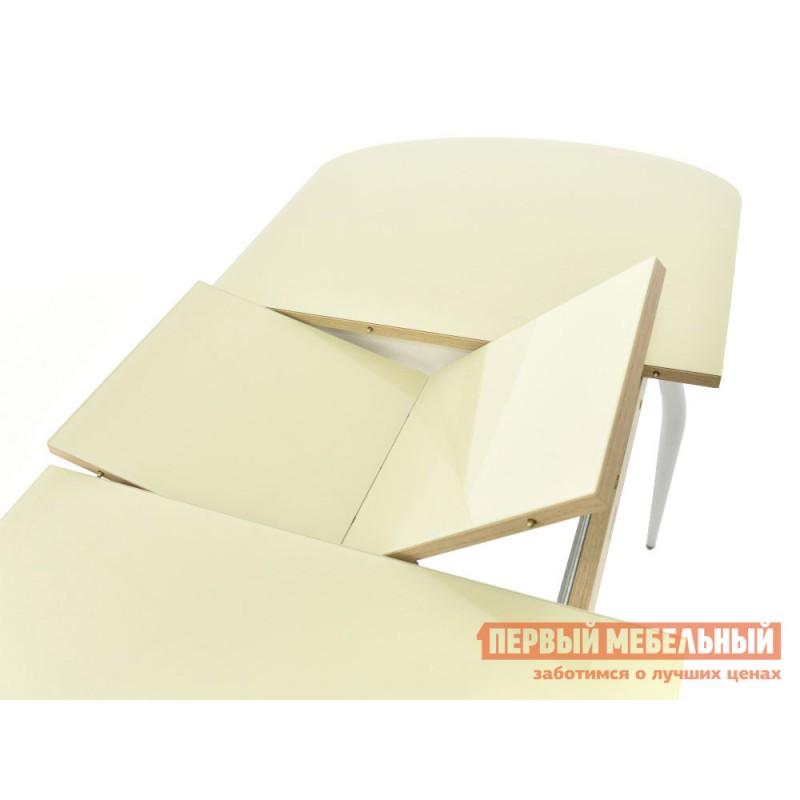 Кухонный стол  Стол Ривьера СВ (110/142*70) Стекло Молочное / ЛДСП Дуб выбеленный (фото 4)
