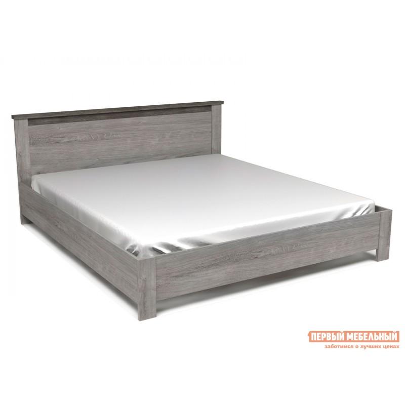Двуспальная кровать  Кровать Денвер Риббек серый / Камень темный, 1800 Х 2000 мм, С основанием, С подъемным механизмом