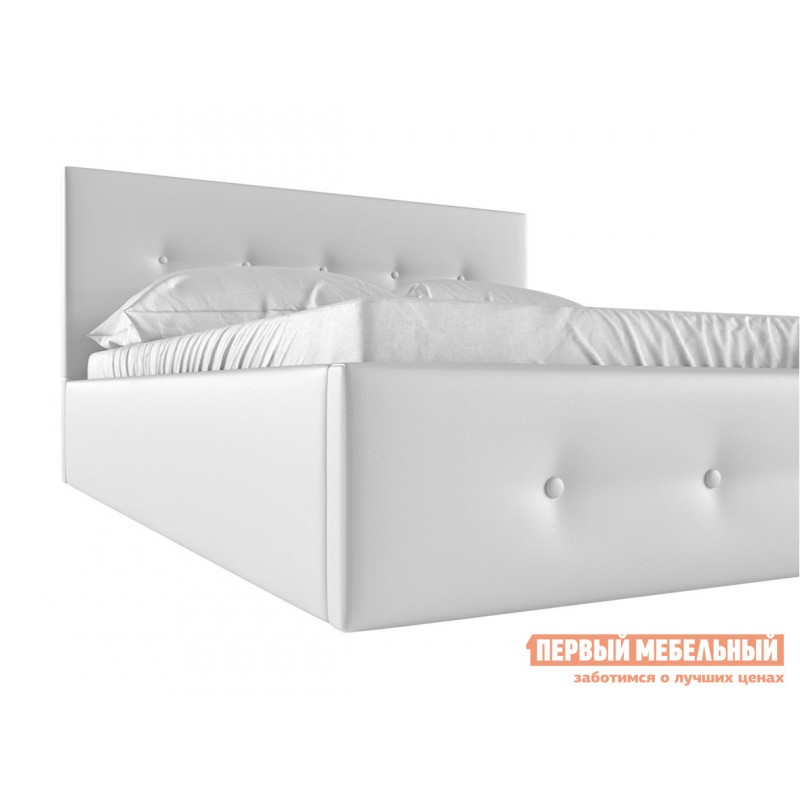 Двуспальная кровать  Колумбия ПМ Белый экокожа, 1600 Х 2000 мм (фото 4)