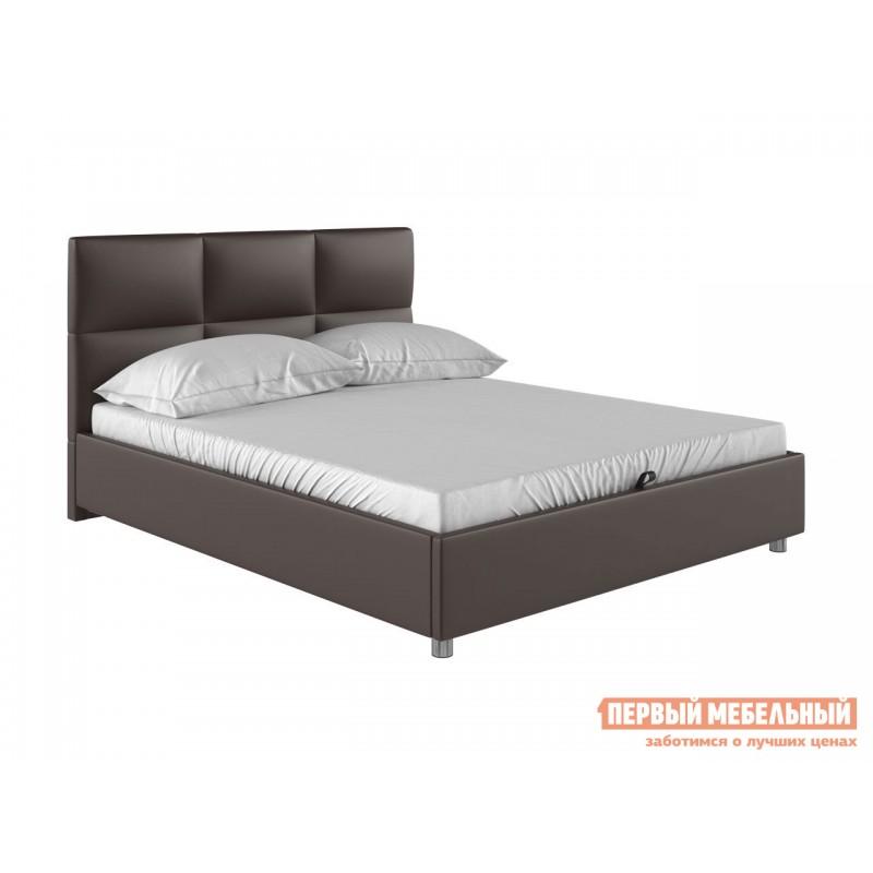 Двуспальная кровать  Кровать с мягким изголовьем Агата Коричневый, экокожа , 160х200 см