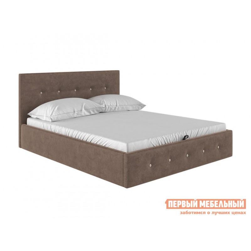 Двуспальная кровать  Колумбия ПМ Коричневый / Бежевый велюр, 1400 Х 2000 мм
