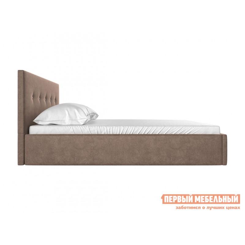 Двуспальная кровать  Колумбия ПМ Коричневый / Бежевый велюр, 1400 Х 2000 мм (фото 3)