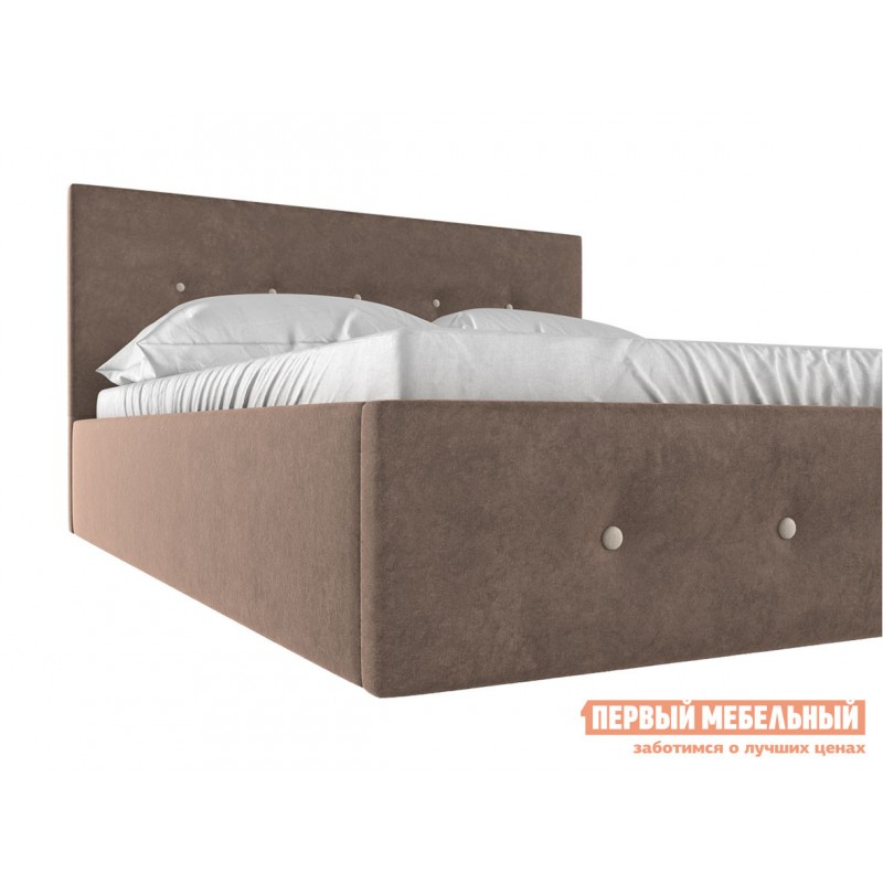 Двуспальная кровать  Колумбия ПМ Коричневый / Бежевый велюр, 1400 Х 2000 мм (фото 4)