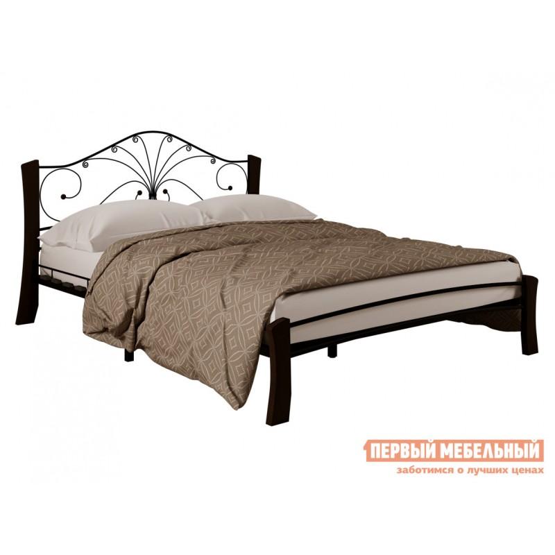 Двуспальная кровать  Кровать Сандра Лайт Черный металл, каркас / Шоколад массив, опоры, 1600 Х 2000 мм