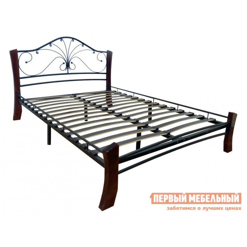 Двуспальная кровать  Кровать Сандра Лайт Черный металл, каркас / Шоколад массив, опоры, 1600 Х 2000 мм (фото 2)