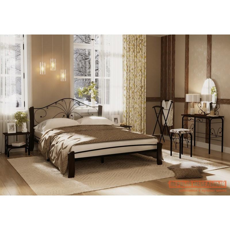 Двуспальная кровать  Кровать Сандра Лайт Черный металл, каркас / Шоколад массив, опоры, 1600 Х 2000 мм (фото 3)
