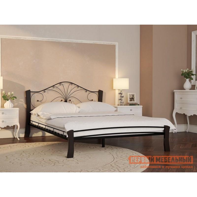 Двуспальная кровать  Кровать Сандра Лайт Черный металл, каркас / Шоколад массив, опоры, 1600 Х 2000 мм (фото 4)