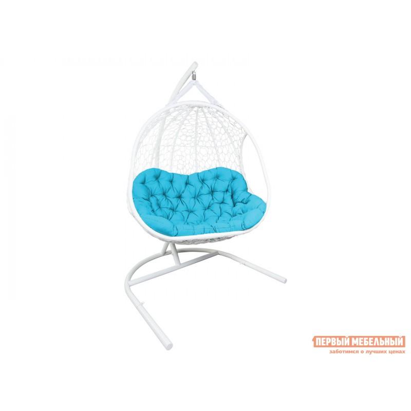 Подвесное кресло  ГЕЛИОС Белый, ротанг / Бирюзовый, ткань