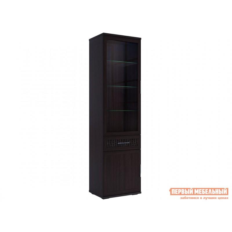 Шкаф-витрина  Шкаф 600 со стеклом Парма Люкс Венге / Искусственная кожа caiman, Без подсветки
