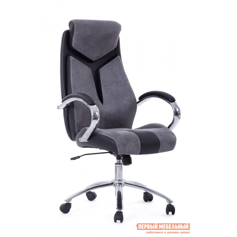 Кресло руководителя  Gloss хром Ткань серая / Кож/зам черный