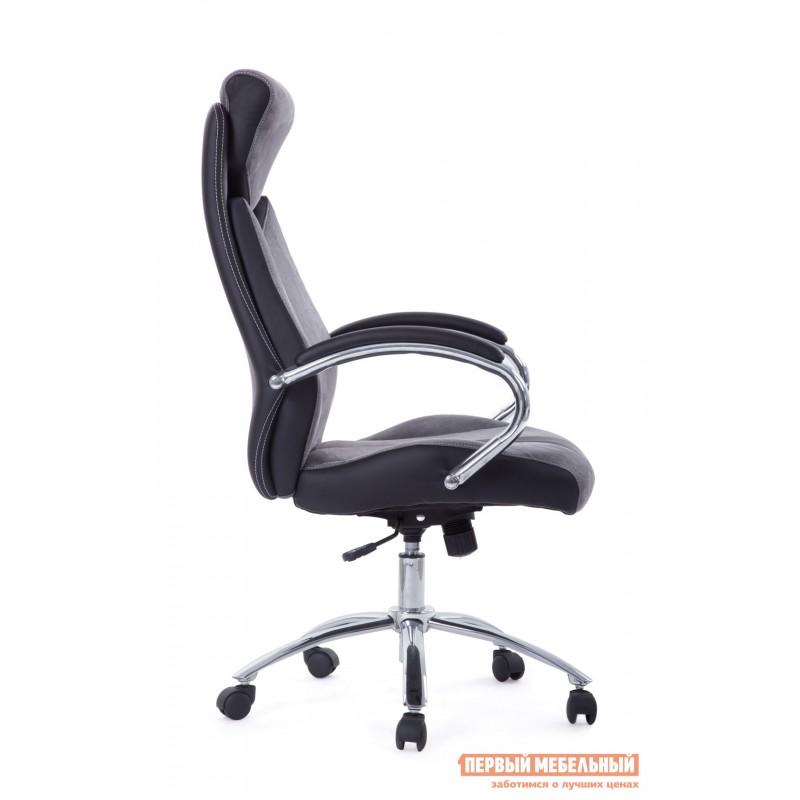 Кресло руководителя  Gloss хром Ткань серая / Кож/зам черный (фото 2)
