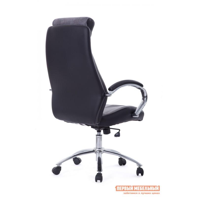 Кресло руководителя  Gloss хром Ткань серая / Кож/зам черный (фото 3)