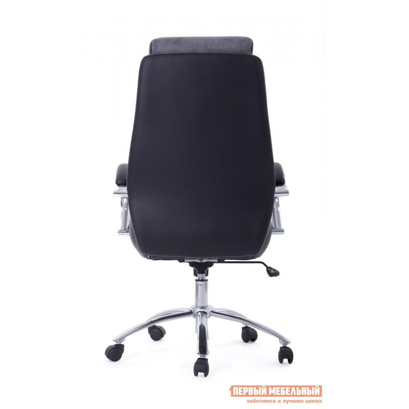 Кресло руководителя  Gloss хром Ткань серая / Кож/зам черный (фото 4)