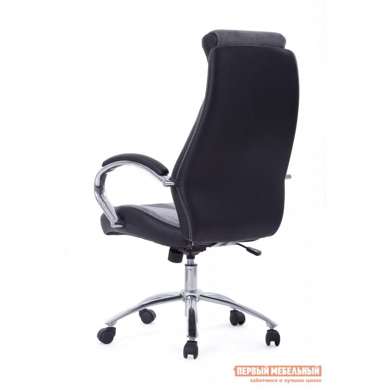 Кресло руководителя  Gloss хром Ткань серая / Кож/зам черный (фото 5)