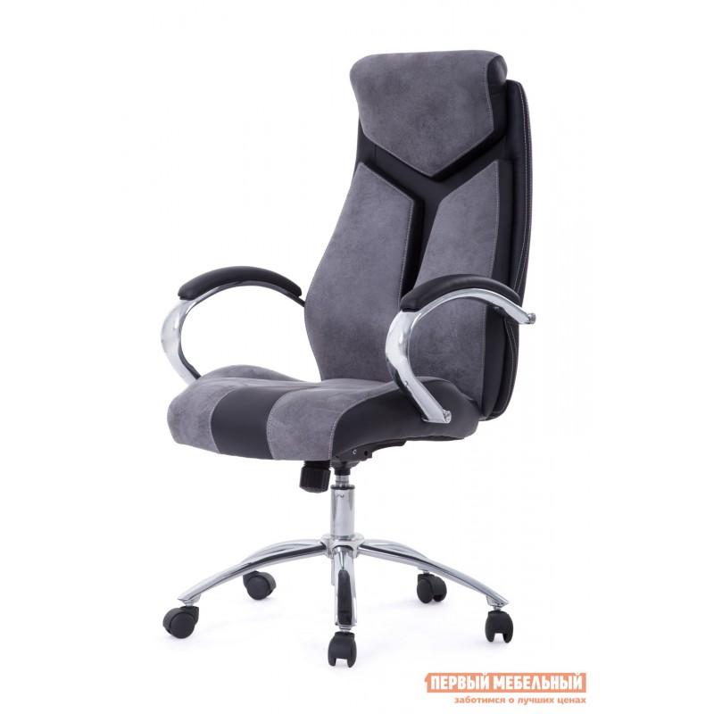 Кресло руководителя  Gloss хром Ткань серая / Кож/зам черный (фото 7)