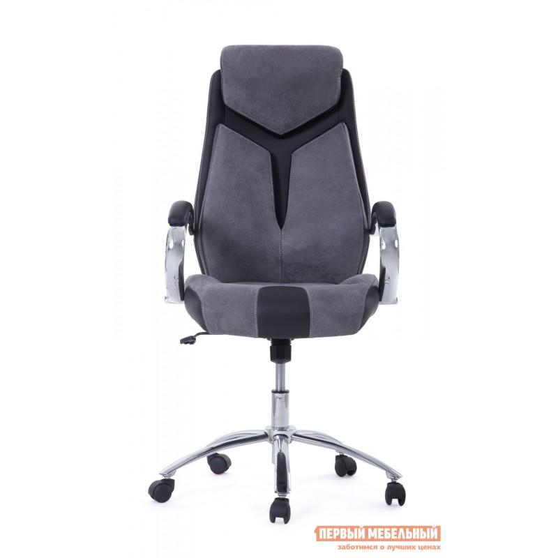 Кресло руководителя  Gloss хром Ткань серая / Кож/зам черный (фото 8)