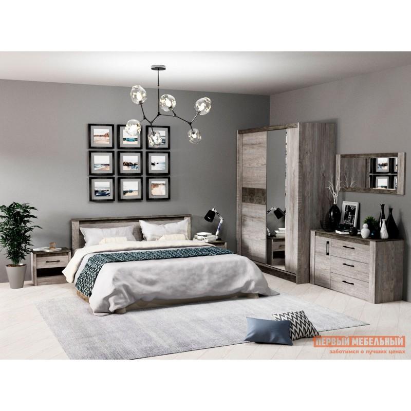 Двуспальная кровать  Кровать Денвер Риббек серый / Камень темный, 1400 Х 2000 мм, С основанием, Без подъемного механизма (фото 2)