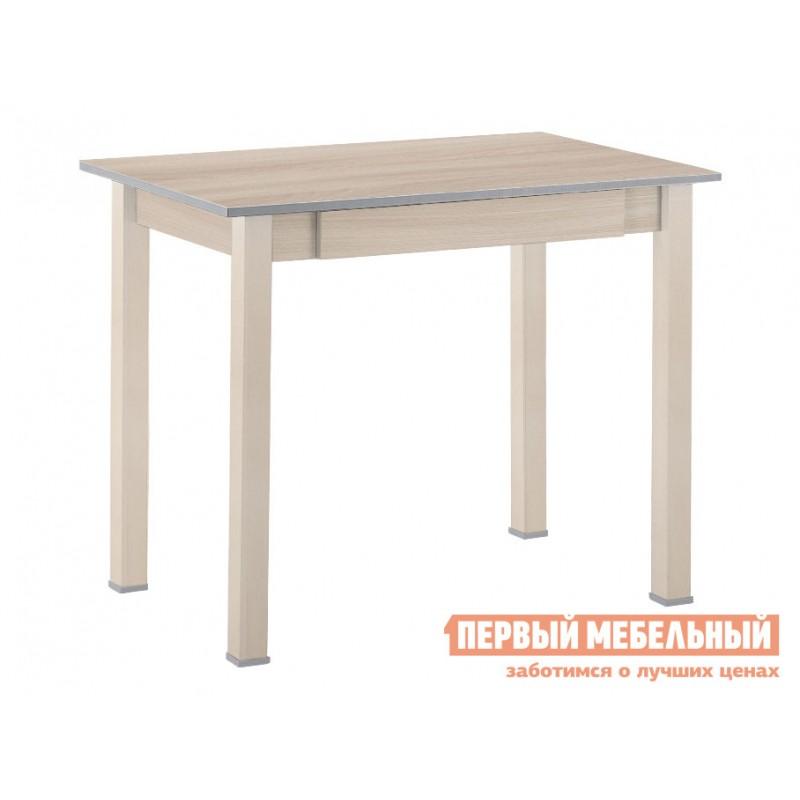 Кухонный стол  Стол обеденный прямая ножка с ящиком Выбеленная береза (массив) / Шимо светлый (ЛДСП)