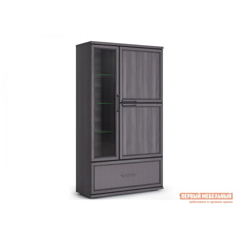 Шкаф-витрина  Шкаф 950 с 1 ящиком Палермо Без подсветки, Лиственница темная / Экокожа дила