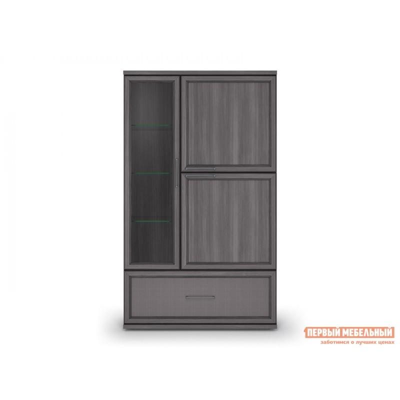 Шкаф-витрина  Шкаф 950 с 1 ящиком Палермо Без подсветки, Лиственница темная / Экокожа дила (фото 2)