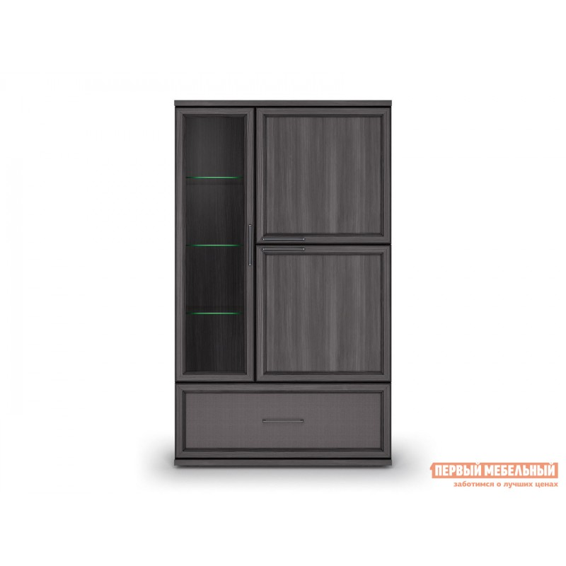 Шкаф-витрина  Шкаф 950 с 1 ящиком Палермо Без подсветки, Лиственница темная / Экокожа дила (фото 3)
