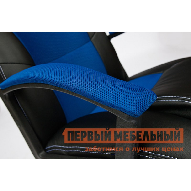 Игровое кресло  Driver Иск.кожа черная / Ткань синяя, 36-6/10 (фото 4)