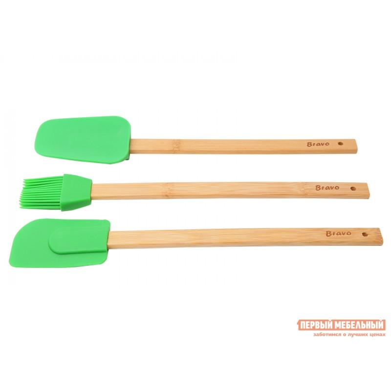 Набор кухонных предметов  Набор лопаток и кисточки силикон. с бамбук.ручками, 30см BRAVO Бамбук / Зеленый, силикон