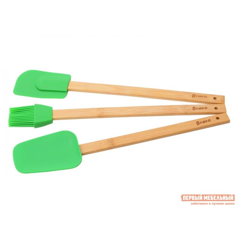 Набор кухонных предметов  Набор лопаток и кисточки силикон. с бамбук.ручками, 30см BRAVO Бамбук / Зеленый, силикон (фото 2)