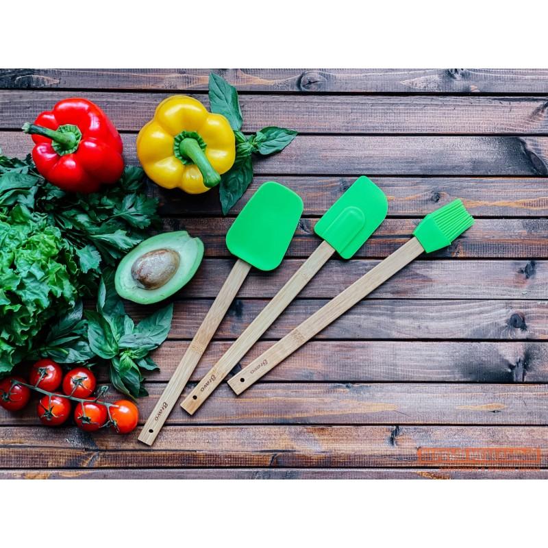 Набор кухонных предметов  Набор лопаток и кисточки силикон. с бамбук.ручками, 30см BRAVO Бамбук / Зеленый, силикон (фото 3)
